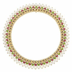 Bulgari 18 Karat Yellow Gold, Pearl, Diamond, Peridot and Tourmaline Necklace