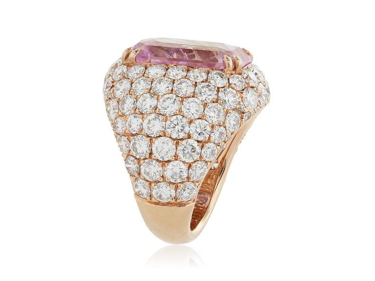 18 karat rose gold custom made Cushion Cut 16.67 carat Padparadscha Burma unheated Sapphire with Gubelin gem lab report #15055034 Pave diamond approximate 5.45 carats total weight ring