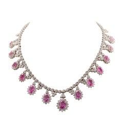 Pink Sapphire Diamond Drop Necklace
