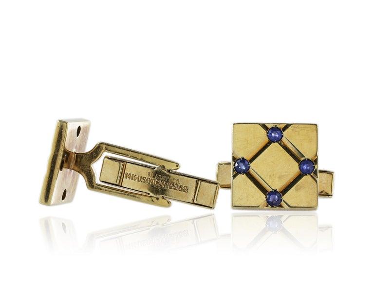 Women's or Men's Tiffany & Co. Sapphire Cufflinks For Sale