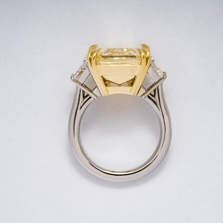 Radiant Cut GIA Certified 17.01 Carat Fancy Yellow Radiant VS2 Diamond Engagement Ring For Sale