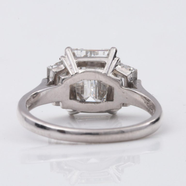 2.20 Carat Emerald Cut Three-Stone Diamond Engagement Ring In New Condition For Sale In Chestnut Hill, MA