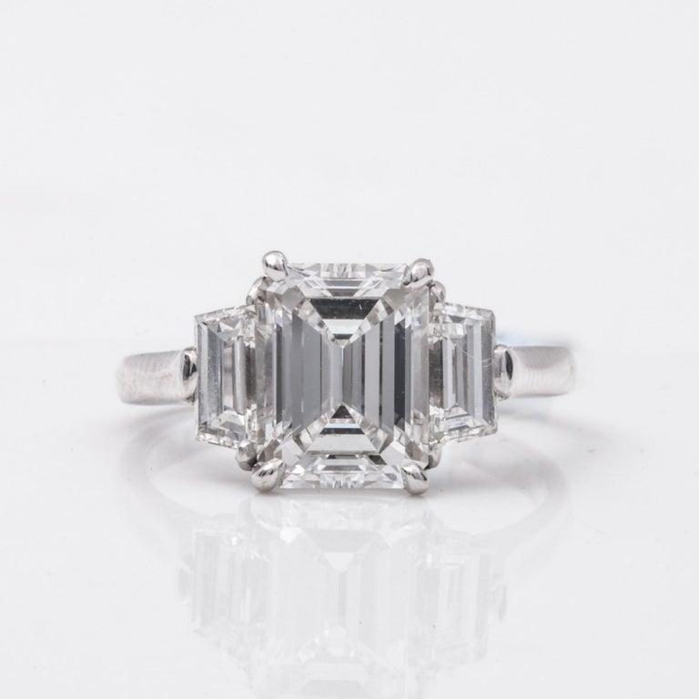Women's or Men's 2.20 Carat Emerald Cut Three-Stone Diamond Engagement Ring For Sale