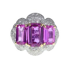 Exceptional Natural Pink Sapphire Diamond Gold Ring