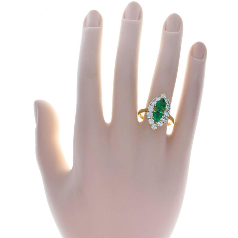 Women's Fine Quality Marquise Shaped Emerald Diamond Gold Cluster Ring For Sale
