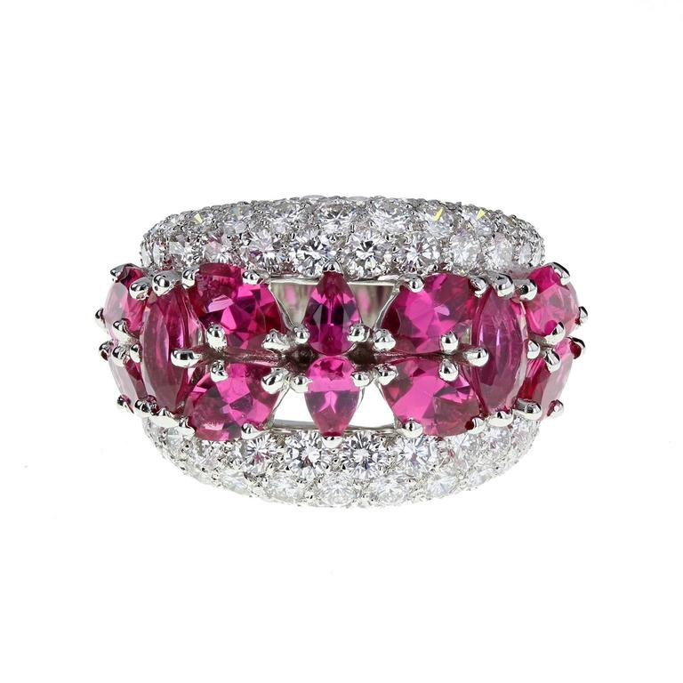 Fancy Pink Tourmaline Diamond Gold Band Ring
