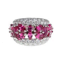 Fancy Pink Tourmaline Diamond Gold Band Ring