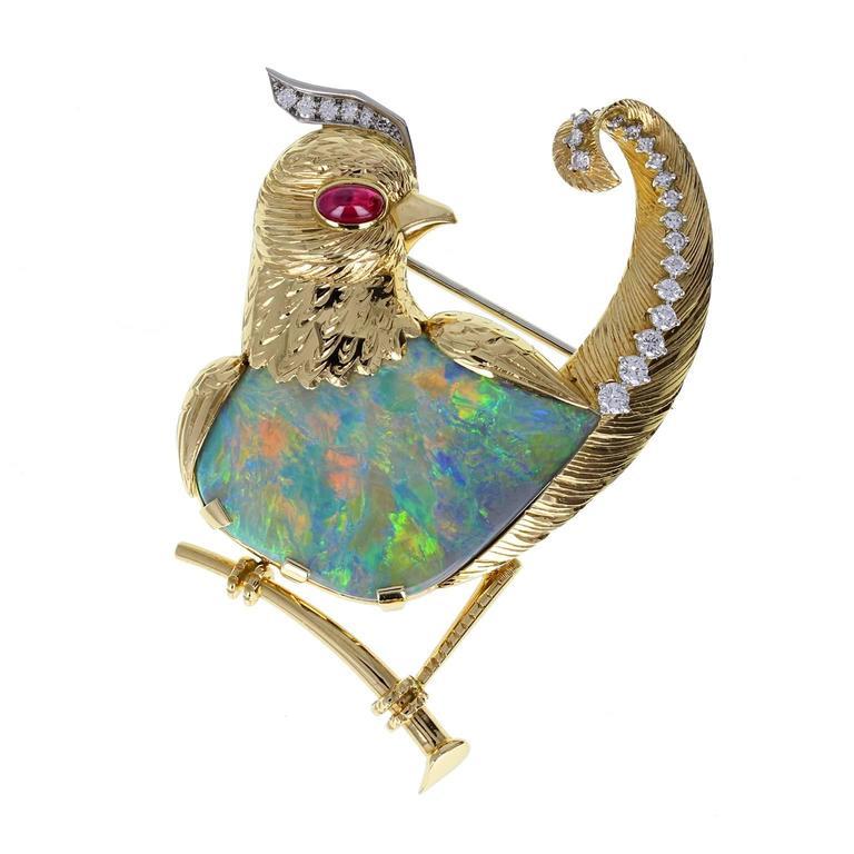 Cartier Opal Ruby Diamond Gold Bird Brooch