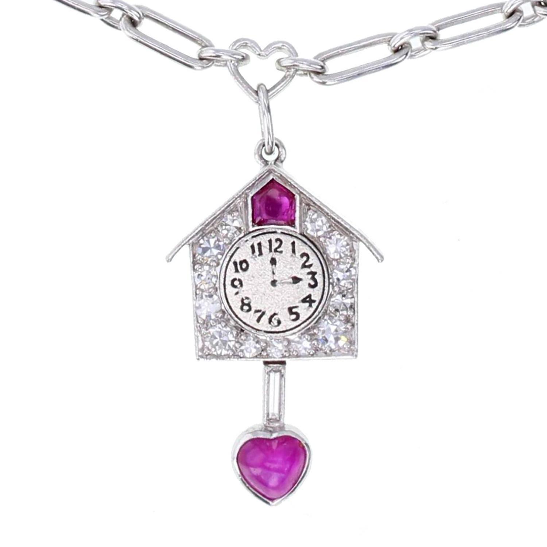 1930s Art Deco Sapphire Ruby Diamond Platinum Charm ...