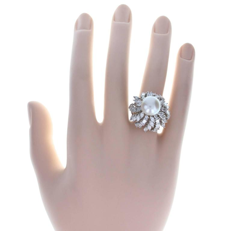 Women's Pearl Diamond Gold Ring For Sale
