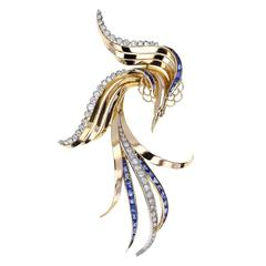 1930s Sapphire Diamond Gold Bird of Paradise Brooch