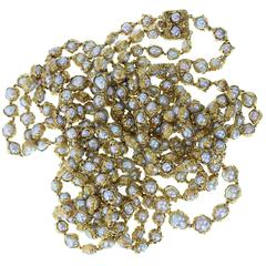 Rare 1960s Charles de Temple Gold Wrapped Grey Pearl  Double Necklace