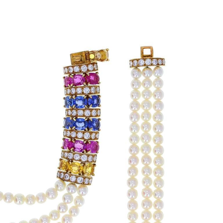 Van Cleef & Arpels Pearl Sapphire Ruby Gold Necklace Bracelet and Earrings In Excellent Condition For Sale In Newcastle Upon Tyne, GB