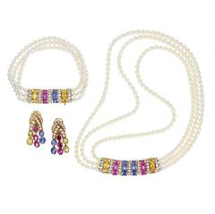 Van Cleef & Arpels Pearl Sapphire Ruby Gold Necklace Bracelet and Earrings