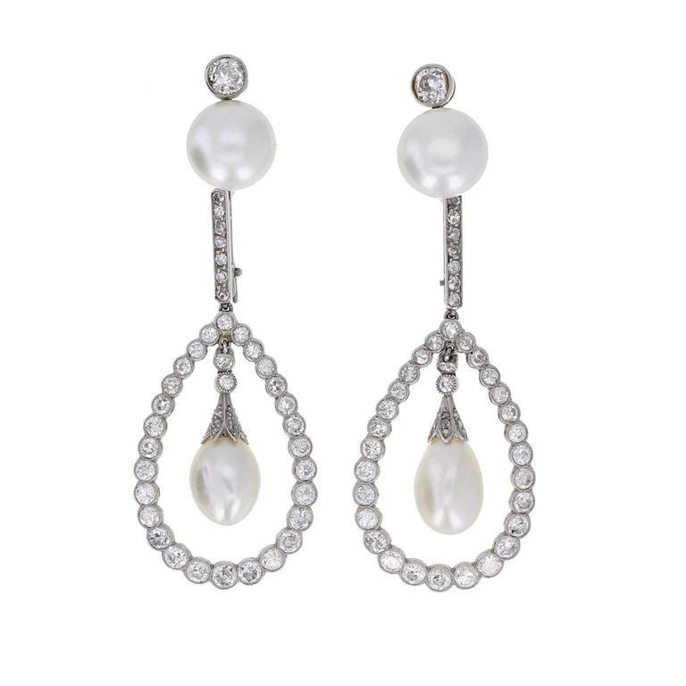 Antique Natural Pearl Diamond Gold Platinum Drop Earrings