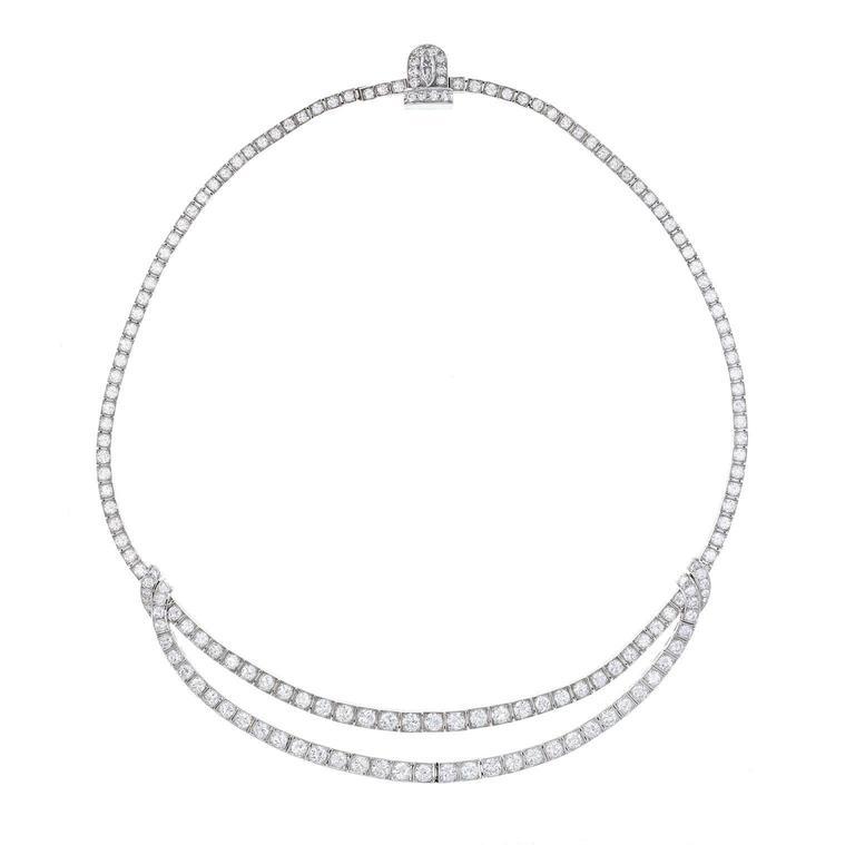 1930s Van Cleef & Arpels Art Deco Diamond Platinum Necklace 1