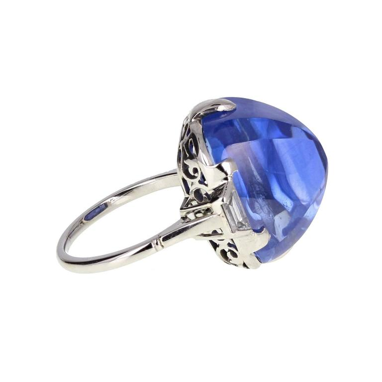 Art Deco Sugarloaf Ceylon Sapphire Diamond Platinum Ring In Excellent Condition For Sale In Newcastle Upon Tyne, GB