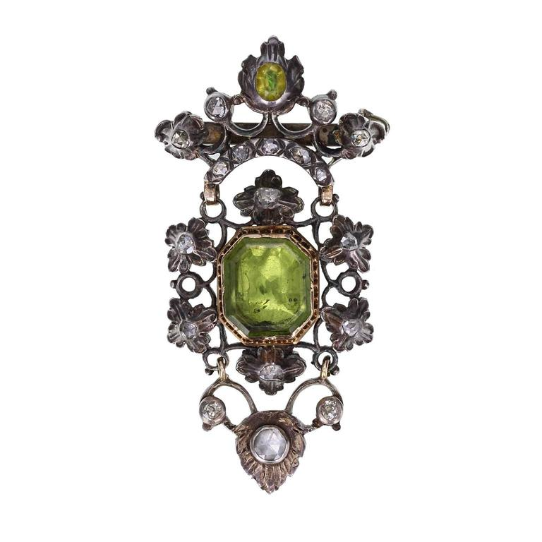 Ancient Antique Peridot Diamond Silver Gold Brooch 1