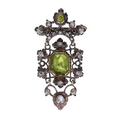 Ancient Antique Peridot Diamond Silver Gold Brooch