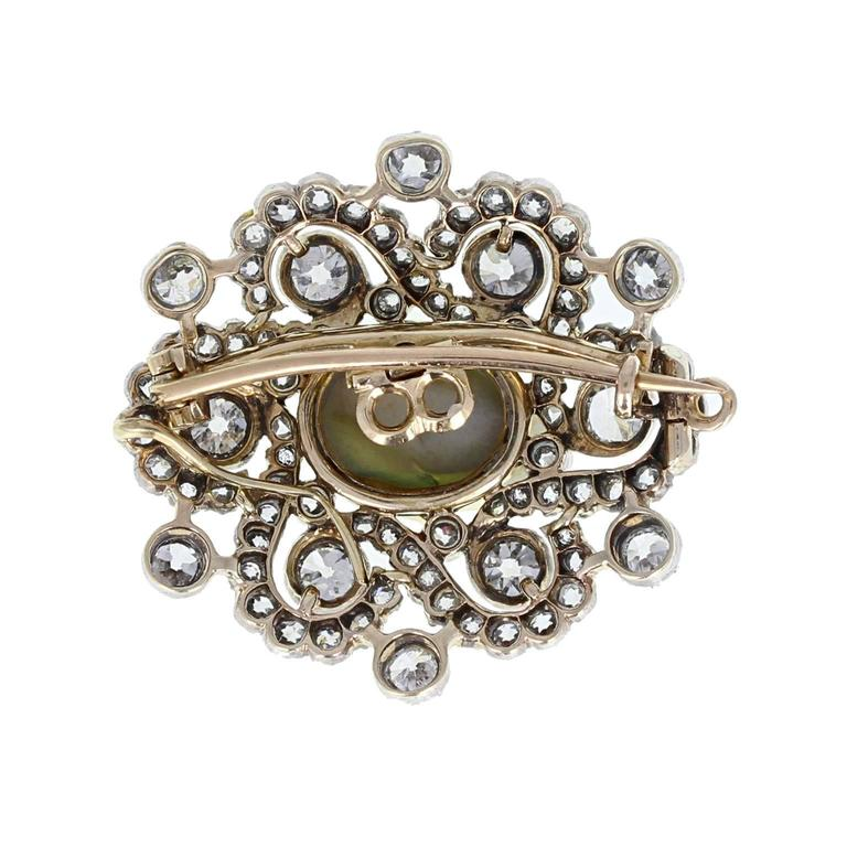 Edwardian Cat's Eye Diamond Silver Gold Brooch Pendant In Excellent Condition For Sale In Newcastle Upon Tyne, GB