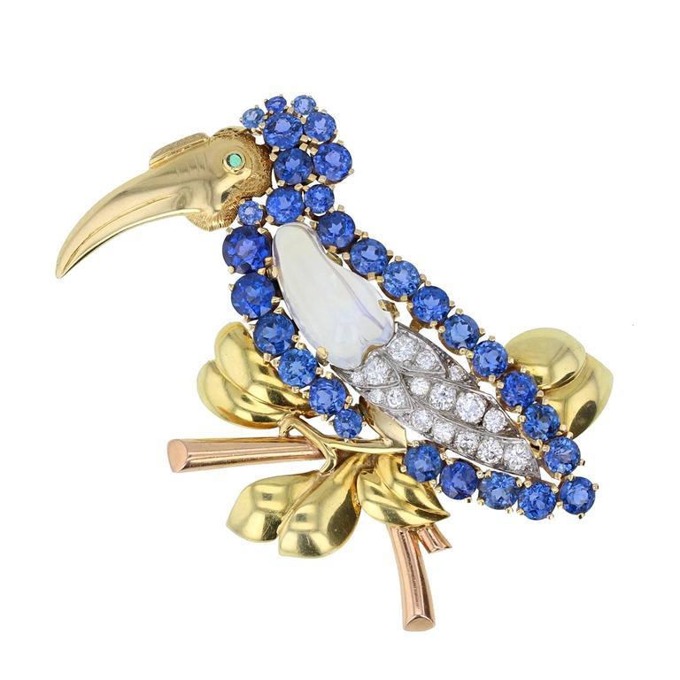 Cartier Moonstone Sapphire Diamond Gold Bird Brooch