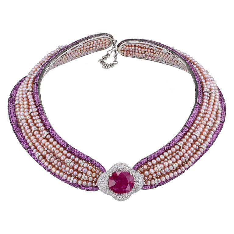 Jahan Important 30 Carat Burma Ruby Pink Sapphire Pearl Diamond Collar Necklace For Sale