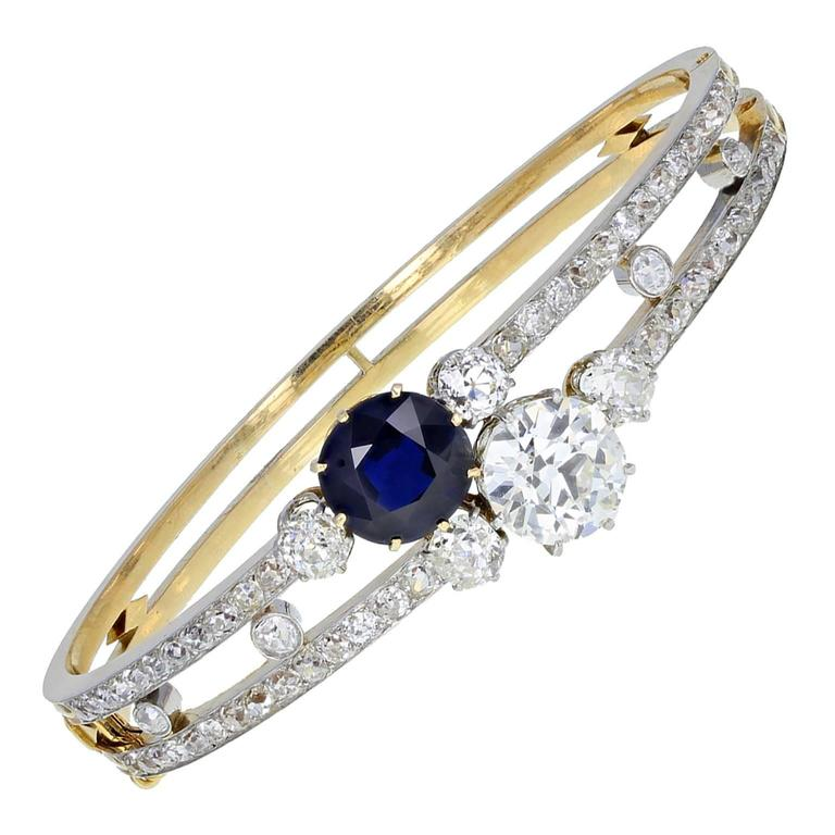 Antique Victorian Natural Sapphire Old Cut Diamond Gold Bangle Bracelet 1