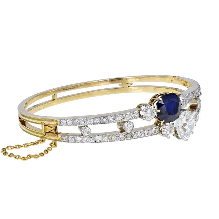 Antique Victorian Natural Sapphire Old Cut Diamond Gold Bangle Bracelet 2