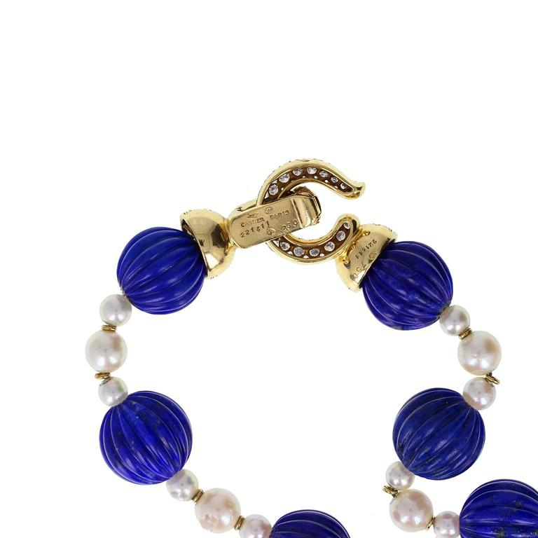 Modern Cartier Paris Pearl Lapis Lazuli Diamond Gold Sautoir Necklace For Sale
