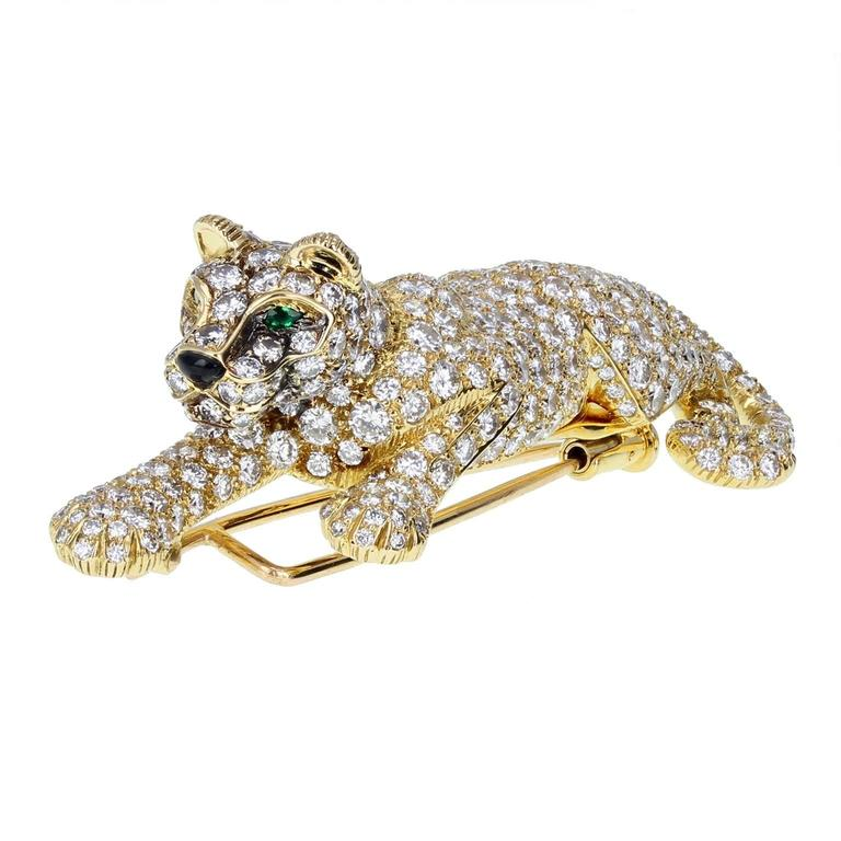 Cartier Gold Diamond Panther Brooch For Sale At 1stdibs