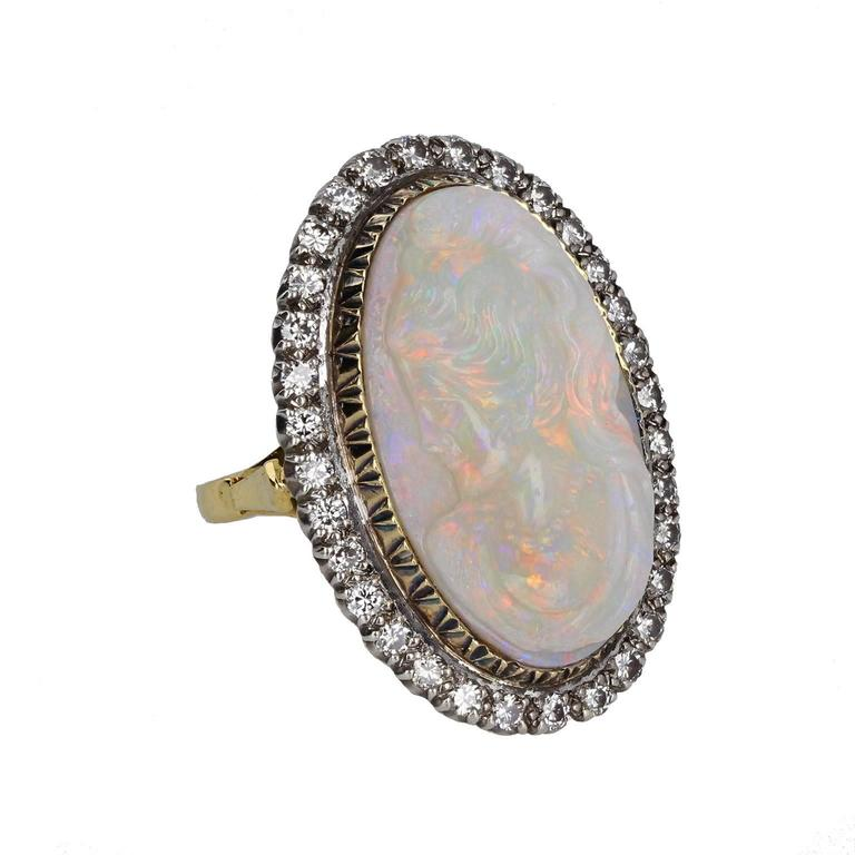 Carved Womans Head Opal Diamond Ring For Sale At 1stdibs