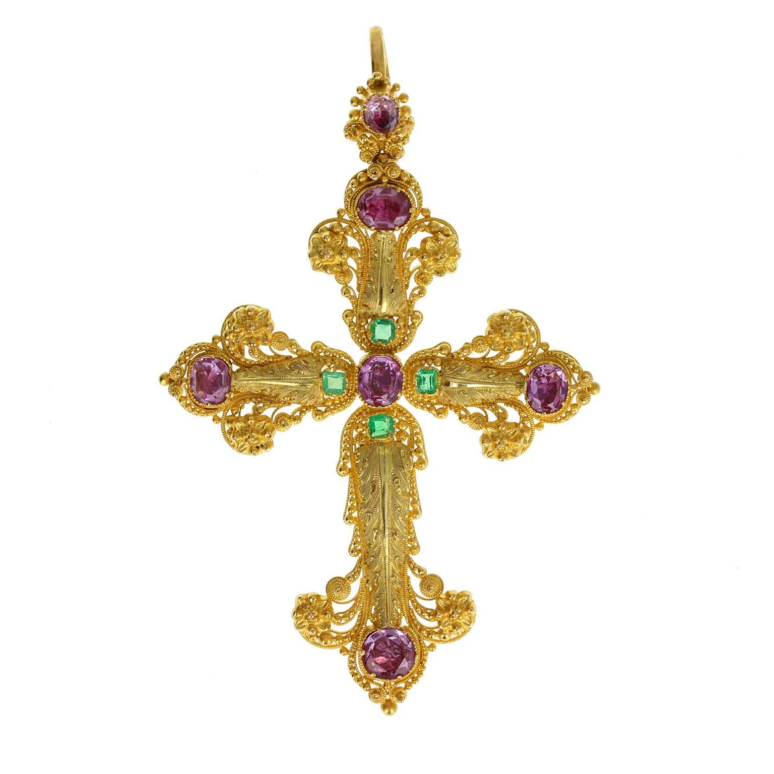 Georgian Pink Topaz Cross Pendant Brooch with Peal and Turquoise For ...