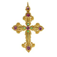 Exquisite Georgian Pink Topaz Emerald Gold Cannetille Cross Pendant Necklace