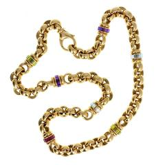 Chopard Multi Gem Gold Chain Necklace