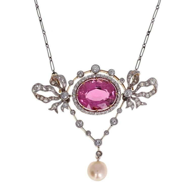 Antique Belle Époque Pink Tourmaline Pearl Diamond Pendant Necklace