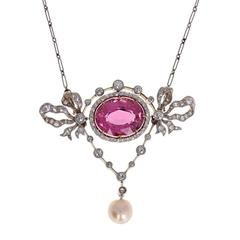 Antique Belle Époque Pink Tourmaline Pearl Diamond Pendant Necklace