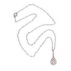 1920s Art Deco Pear Diamond Platinum Tear Drop Shaped Pendant