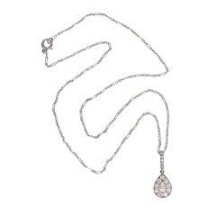 1920s Art Deco Pear Diamond Platinum Tear Drop Shaped Pendant
