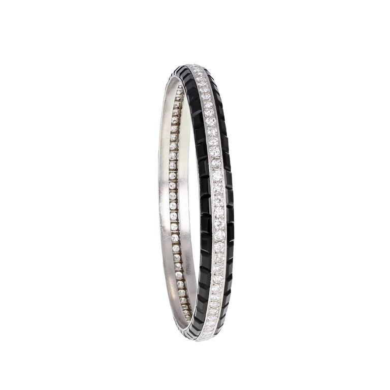 Rare Art Deco Van Cleef & Arpels Onyx Diamond Platinum Bangle Bracelet 3