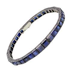 Art Deco Square Cut Sapphire Platinum Line Bracelet