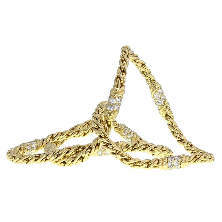Bulgari Diamond Gold Rope Spiga Chain Necklace For Sale