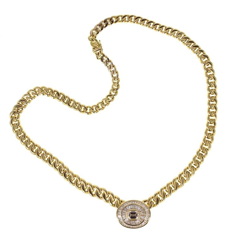 Bulgari GIA Diamond Gold Pendant Necklace For Sale