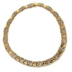 Bulgari Parenthesis Diamond Gold Collar Necklace