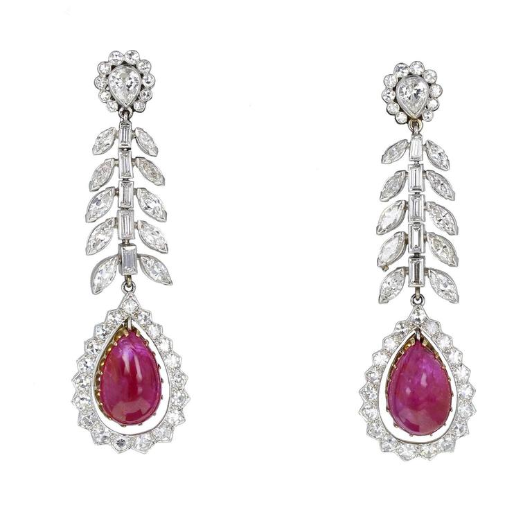 Art Deco 1920s Pear Shaped Burma Ruby Cabochon Diamond Platinum Drop Earrings For