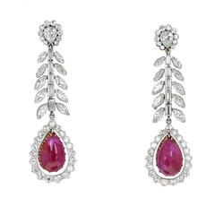 Art Deco 1920s Pear Shaped Burma Ruby Cabochon Diamond Platinum Drop Earrings