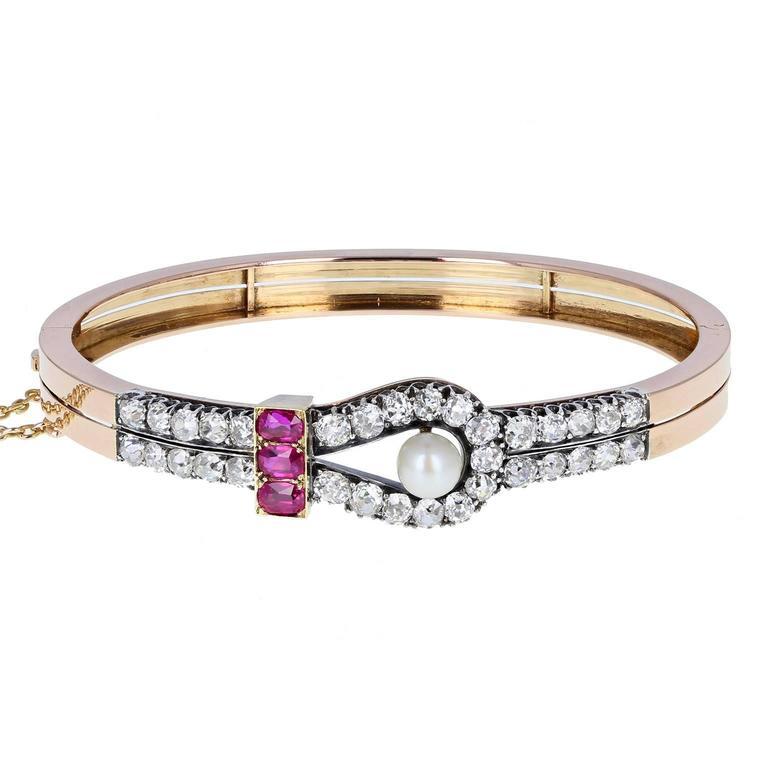Antique Victorian Ruby Pearl Diamond Gold Bangle Bracelet For Sale
