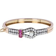 Antique Victorian Ruby Pearl Diamond Gold Bangle Bracelet
