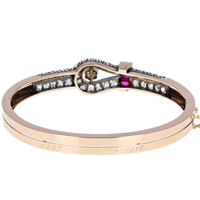 High Victorian Antique Victorian Ruby Pearl Diamond Gold Bangle Bracelet For Sale