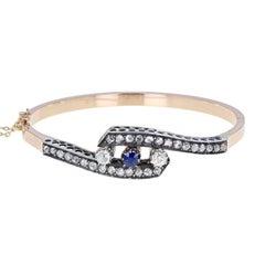 Antique Victorian Sapphire Rose-Cut Diamond Gold Bangle Bracelet