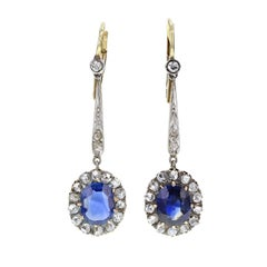 Antique Victorian Oval Unheated Sapphire Diamond Cluster Dangle Earrings
